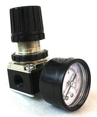 """Air Pressure Regulator for Air Compressor Systems 1/4"""" with Pressure Gauge"""