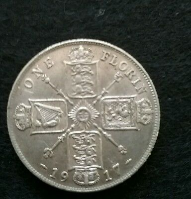 1917 Great Britain One Florin Silver (.925) coin George V