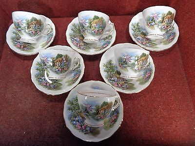 Set 6 ROYAL VALE Cottage & Garden TEA CUPS & SAUCERS - 12 pieces FREE UK POSTAGE
