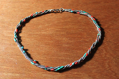 Karen Hill Tribe sterling silver beads and gemstones necklace
