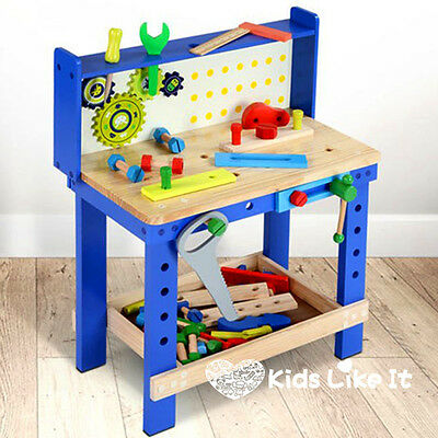 Kids BOYS Large Wooden Carpenters Work TABLE Bench Tool PLAY SET Workshop NEW