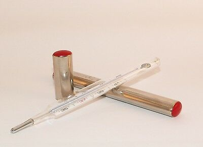 Vintage ORIGINAL UEBE GLASS THERMOMETER  In Metal bar Hospital Medical CLINICAL