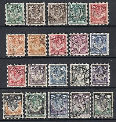N Rhodesia KGVI 1938 defs SG25/44 20 vals to 10/-; very fine used; cat £110+