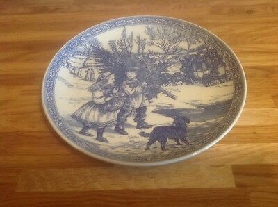 spode blue and white christmas plate