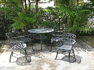 Antique Vintage Mizner estate ornate patio set umbrella dining table + 6 chairs
