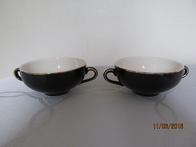 Alfred Meakin Blue Stag 2 Black Double Handled Soup Cups
