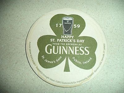 GUINNESS Happy St. Patrick's Day Beer Coaster!  Used