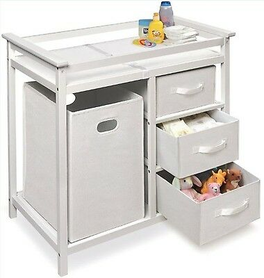 Diaper Changing Table Baby Furniture White With Drawers Nursery Storage Station