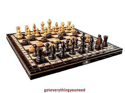 Chess Board Game Hand Crafted Cherry Tree Wooden Made Pieces Draughts Set Toys