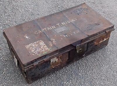 Stunning Metal travel trunk Owned by Colonel T. Nisbet C.M.G D.S.O. Great Look