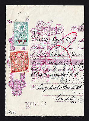 GB 5s KGV Foreign Bill stamp and Japanese 3 Sen fiscal on 1920 Piece