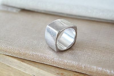 25g Signed AGB ~ Vintage MODERNIST Sterling Silver Square Cigar Band Ring 8 3/4