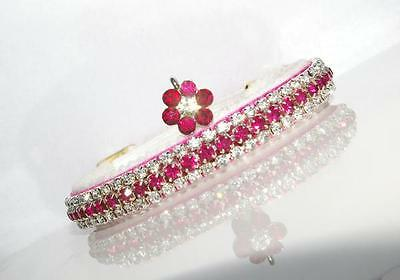 FUSHIA PINK & DIAMOND FLOWER CAT COLLAR made with SWAROVSKI  CRYSTALS