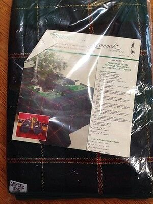 Vintage Leacock Inverness No. 410 Green Red Gold Plaid Tablecloth 60 X 120