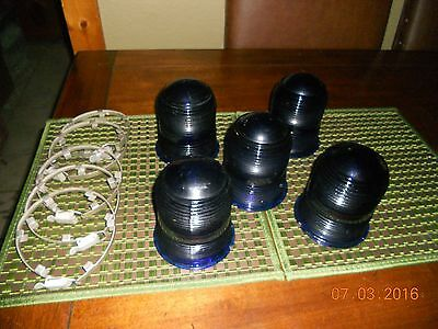 Lot Of (5) Cobalt Blue Airport Runway Light Glass Covers With Metal Band Ring