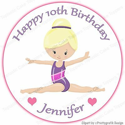Personalised Gymnastics Round Edible Icing Birthday Party Cake Topper