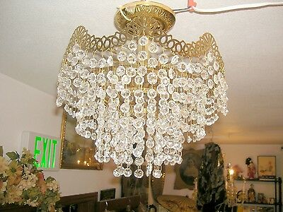 Vintage Bright Brass Flush Mount Compact 4 Ring/4Bulb Crystal Chandelier