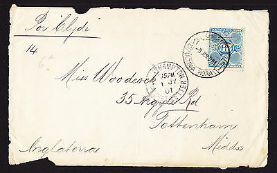 Uruguay stamp on 1901 Front Cover Piece with Southampton Packet Letter postmark