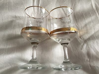 Commemorative Glasses For Charles And Diana Wedding 1981