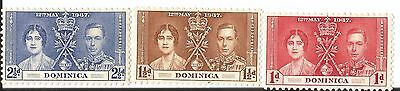Domincia # 94-96 Caranation Issues 12Th May 1937 Set Of 3