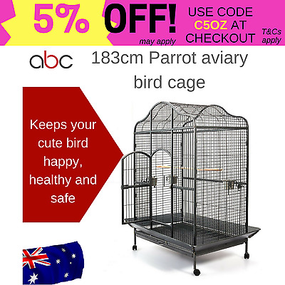 183cm Parrot aviary bird cage w/open dome roof wrought iron anti rust large door