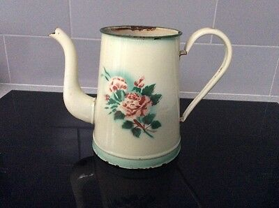 Vintage Shabby Chic French Painted Metal Jug