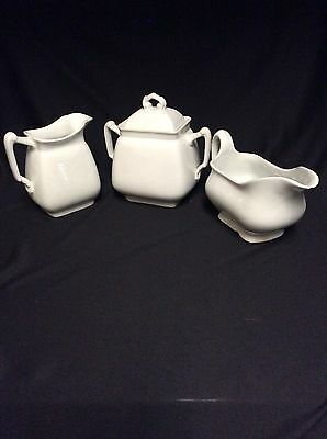 Vintage Maddock &  Co. White Ironstone  Sugar, Creamer and Gravy