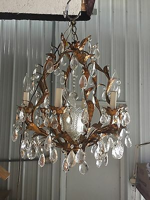 Gold Gilded Tole & Crystal Chandelier c1950 Vintage Antique Ornate Glass~JM~