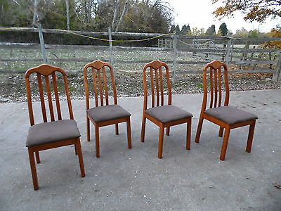 4x Solid Wood Dining Chairs with Brown Suede Fabric Clean Condition