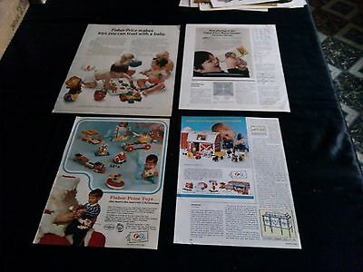 lot of 4 FISHER PRICE TOY magazine print ads 1967-1973 full page color ad