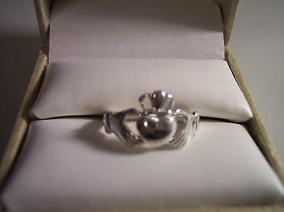 Vintage Unisex Sterling Silver Claddagh Ring Size 9 3/4 Signed
