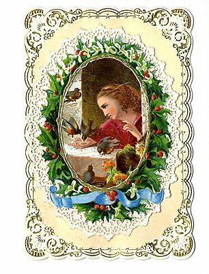 Victorian Paper Lace Christmas Card - girl feeding birds