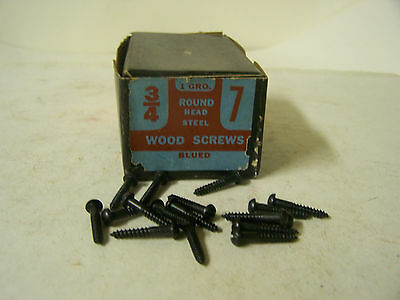 """#7 x 3/4"""" Round Head Blued Wood Screws Slotted Vintage Made in USA Qty 144"""
