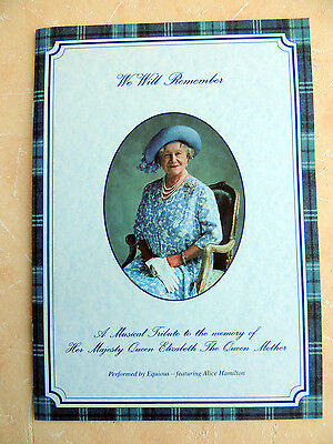 Musical Tribute to the memory of the Queen Mother - A4 booklet and CD
