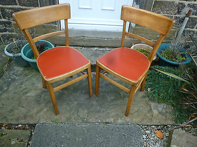 Pair of Original 1950,s Vintage wooden Kitchen chairs with original seat covers