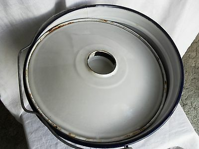 Vintage Enamel Blue on White Pail/ Bucket with Lid & Handle
