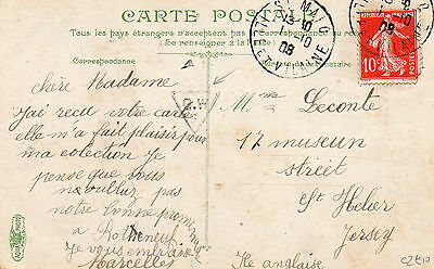 Postcard France to Jersey 1908 with unusal G W 5   in a triangle in black