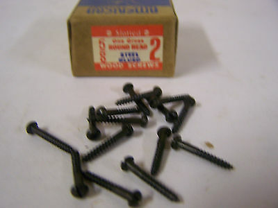 """#2 x 5/8"""" Round Head Blued Wood Screws Slotted Vintage Made in USA Qty 135"""