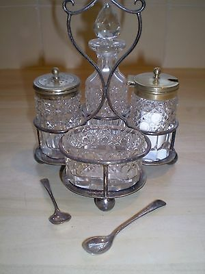 Vintage Silver and Crystal Cruet Set