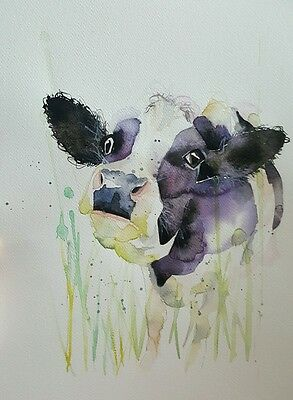 "ELLE SMITH ART. NEW &ORIGINAL RARE WATERCOLOUR PAINTING.16x12"" ""A COW"""