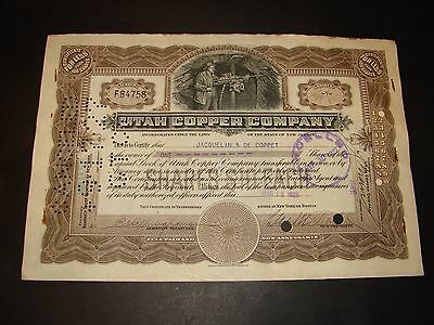 1926 Utah Copper Company Original Stock Certificate Vintage New Jersey