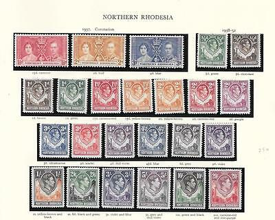Northern Rhodesia 1938-52 set fine mint page - cat £250