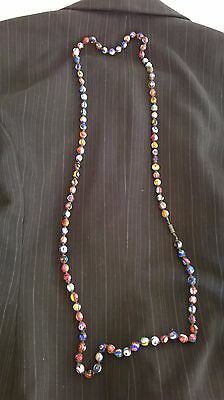 Vintage long multicolor necklace of Venetian Millefiori glass round shaped beads