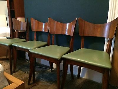 4 Ben Chairs Vintage 60/70s Retro Green Danish Style Beech Wood Dining Chairs