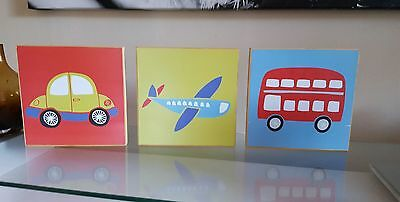 Set of 3 wooden pictures canvas_kids room