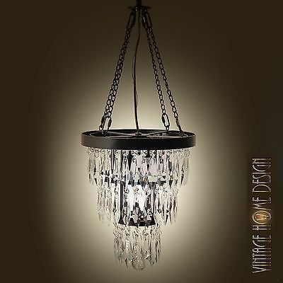 Art Deco Style Pyramid Crystal Round Iron Chandelier Ceiling light