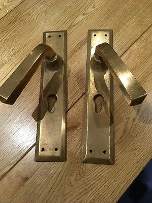 Pair of Antique Vintage Heavy Solid Brass Door Handles Complete with Key Hole