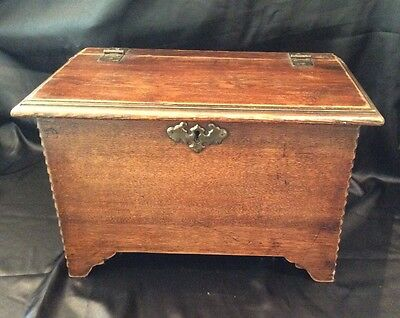 Antique Deed/ Small Wooden Chest Box 44.5 x 29.5 x 27cms