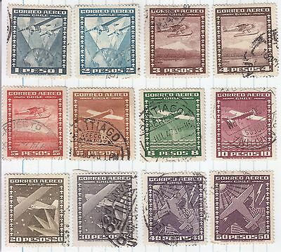 Chile 1934 12 Stamps Used