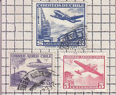 Chile 3 Stamps Used